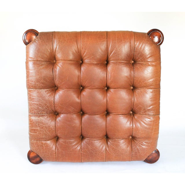 Traditional Large Leather Tufted Ottoman For Sale - Image 3 of 7