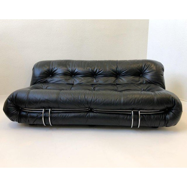 Black Leather and Chrome 'Soriana' Sofa Set by Scarpa for Cassina - 3 Pc. Set For Sale In Palm Springs - Image 6 of 11