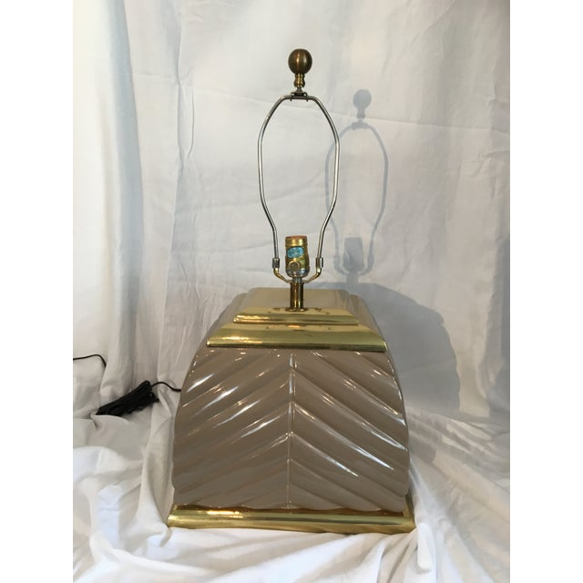 1970s Modern Chevron Taupe Ceramic & Brass Table Lamp For Sale In Seattle - Image 6 of 10