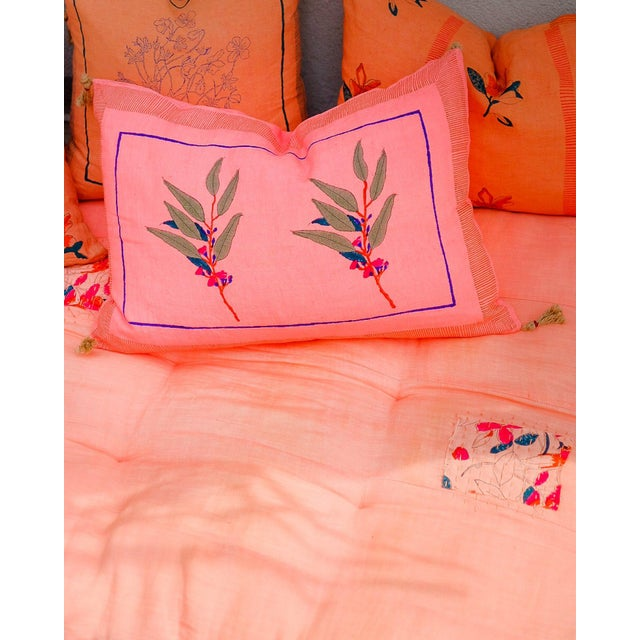 Contemporary Eli Handwoven & Block-printed Linen Pillow with Insert For Sale - Image 3 of 4