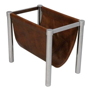 Mid-Century Chrome & Leather Magazine Rack Stand For Sale