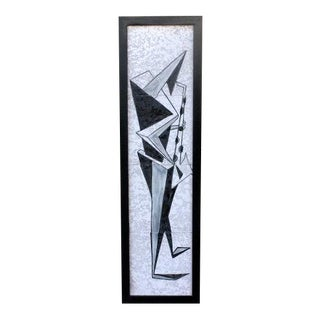 Modernist Saxophone Player Wall Hanging Tile For Sale