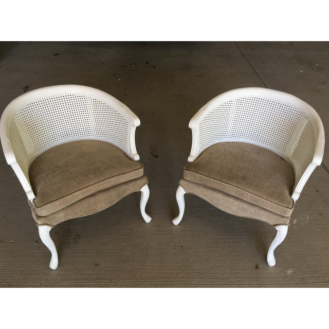 French Country Barrel Back Caned Chairs – Pair For Sale - Image 9 of 9