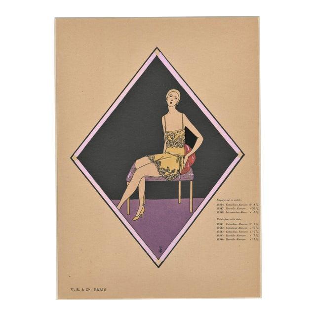 Matted French Art Deco Vintage Lingerie Fashion Pochoir For Sale