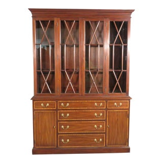 Georgian Style Henkel Harris Satinwood Banded Mahogany Breakfront China Cabinet For Sale