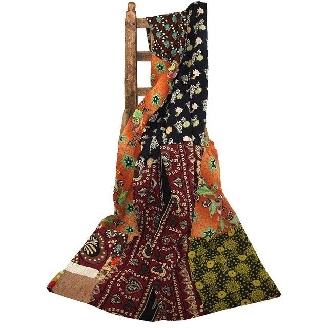 Vintage Green & Orange Kantha Quilt - Image 3 of 3