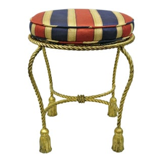 Vintage Mid Century Italian Hollywood Regency Gold Gilt Rope Tassel Tole Metal Vanity Stool For Sale