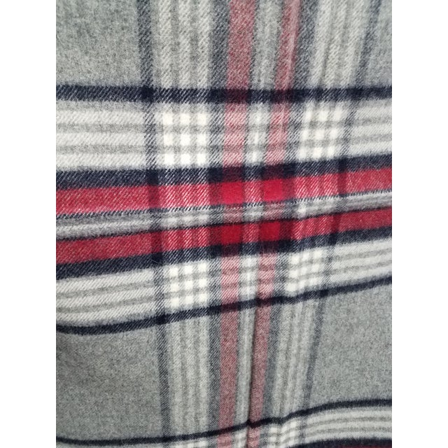 Textile Wool Throw Red Black Gray WHite Plaid - Made in England For Sale - Image 7 of 12