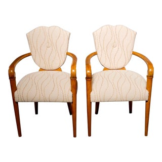 French Pair of Beech Bridge Chairs With New Upholstery For Sale
