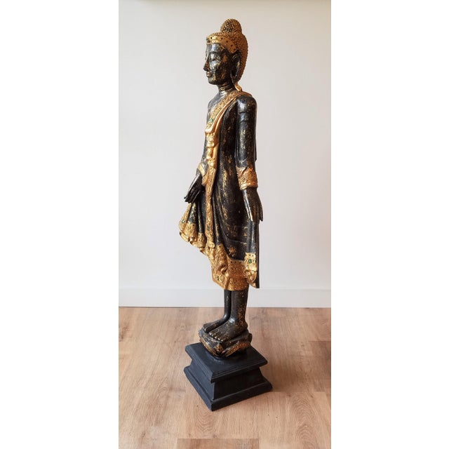 Mid 20th Century Mid 20th Century Hand Painted Carved Wood Standing Buddha For Sale - Image 5 of 13