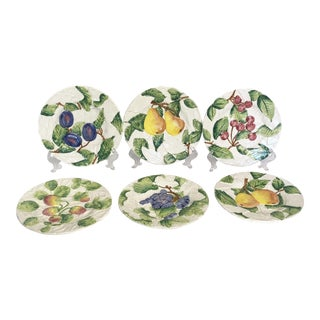 Vintage Italian Majolica Fruit Plates - Set of 6