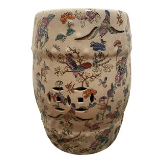 Chinoiserie Famille Rose Floral and Fauna Porcelain Garden Stool Seat For Sale