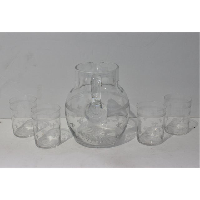 Vintage Fleur De Lis Glass Pitcher and 4 Tumblers Iced Tea Lemonade - a Set For Sale - Image 4 of 13
