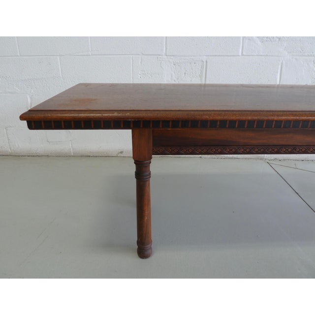 Antique Wood Table With Carved Floral Motif For Sale In Chicago - Image 6 of 13