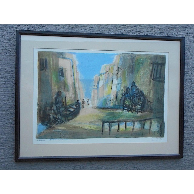 Vintage Signed Ltd. Ed. Color Lithograph-French-Artist's Proof-Scene In Seaside Town For Sale In Cincinnati - Image 6 of 6