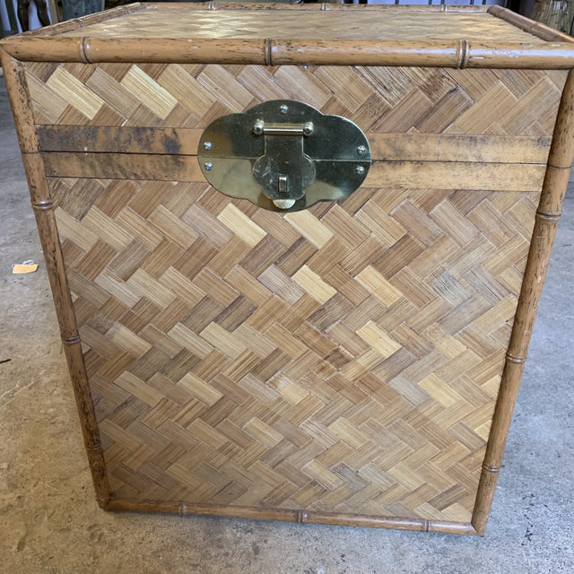 Brown Vintage Rattan Chest Drink Table For Sale - Image 8 of 11