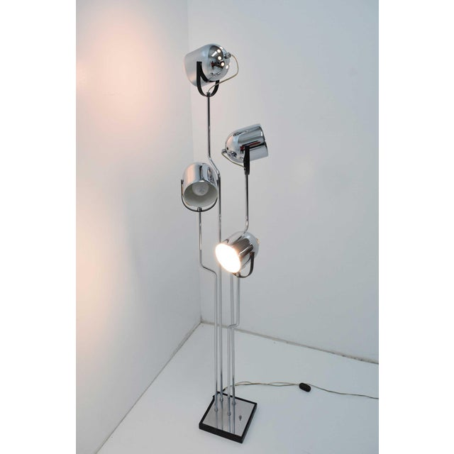 1960s Reggiani 4 Head Chrome and Black Floor Lamp For Sale - Image 5 of 11