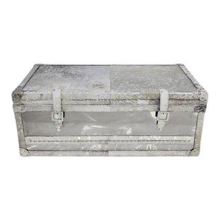 Pasargad Home Forest Collection Steel and Cowhide Silver Trunk For Sale