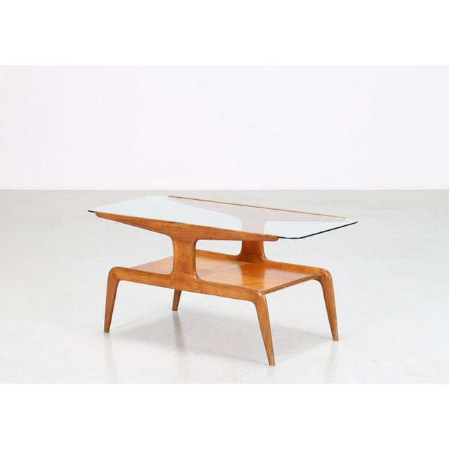 Mid 20th Century Gio Ponti Coffee Table in Ash and Glass Top For Sale - Image 5 of 9