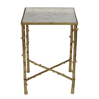 """Glostrup Square End Table With Mirrored Top for Living Room, Bed Room, 23"""" H, Gold Leafing Finish For Sale"""