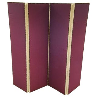 John Saladino Four-Panel Fabric Folding Screen With Nailhead Detail For Sale