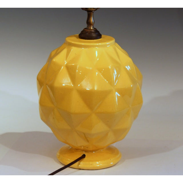 Art Deco Vintage Stangl Art Deco Pottery Geodesic Dome Sphere Globe Yellow Vase Lamp For Sale - Image 3 of 9