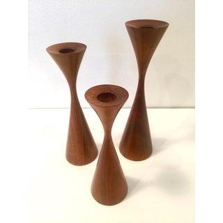 Vintage Danish Modern Inspired Turned Walnut Rude Osolnik Candlesticks - Set of 3 Preview
