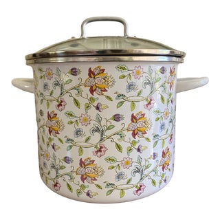 Large Floral Haddon Hall Enamel German Cook Pot For Sale