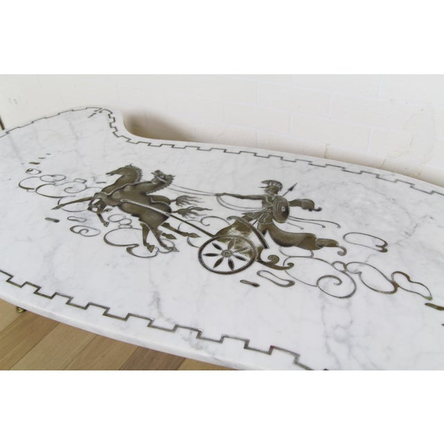 Vintage Italian Chariot Style Marble Coffee Table For Sale - Image 4 of 5