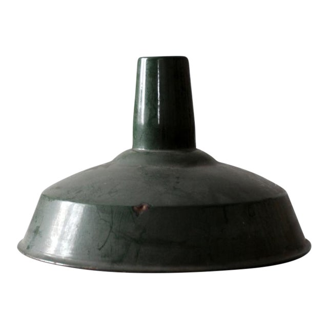 Industrial Green Enamel Pendant Lamp Shade For Sale