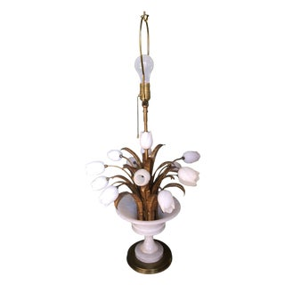 Alabaster White Tulips Table Lamp