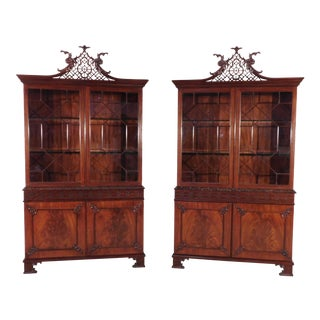 Baker Stately Homes Penhurst Flame Mahogany Cabinets - a Pair For Sale