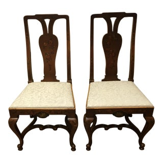 Pair of Antique Adams Style Painted Slip Seat Chairs For Sale
