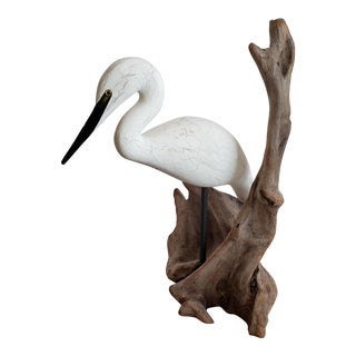 Hand Carved Decorative Bird With Natural Driftwood For Sale
