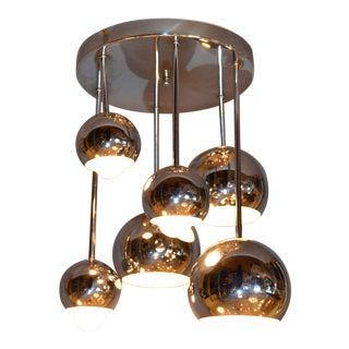 Round Vintage Space Age Six Light Chrome Ball Ceiling Light Fixture Flush Mount For Sale