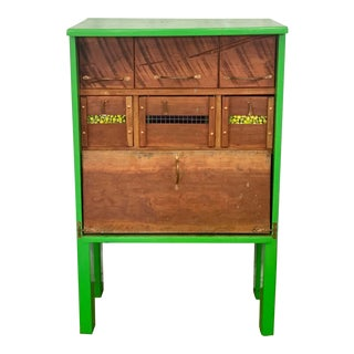 Vintage Rustic Folk Art Green Craftsman Storage Cabinet For Sale