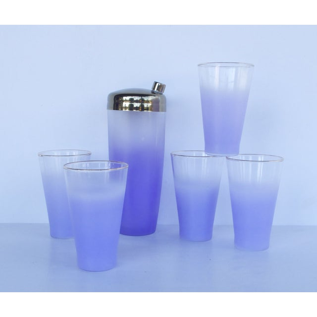 West Virginia Glass Frosted Cocktail Set - Image 6 of 8