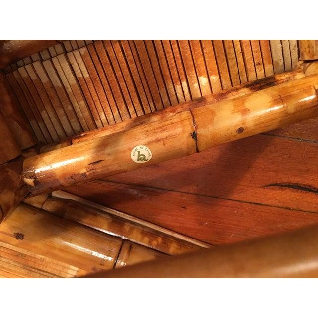 Vintage Tortoise Burnt Bamboo Nesting Stools - Set of 3 - Image 8 of 9