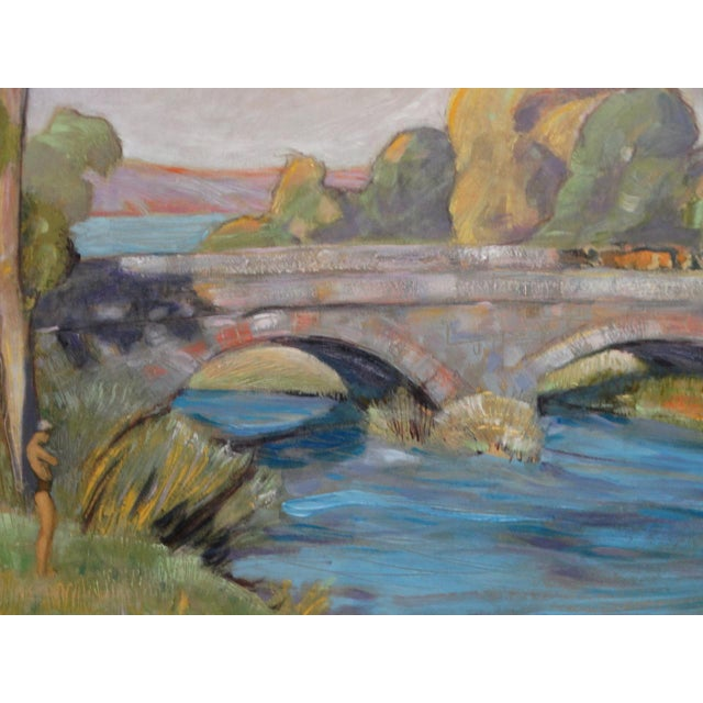 1930s Dan Burgess Landscape Painting With Bridge For Sale In Los Angeles - Image 6 of 11