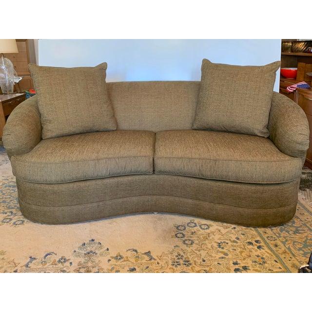 Drexel Heritage Drexel Heritage Kidney Shape Olive-Green Curved Sofa For Sale - Image 4 of 12