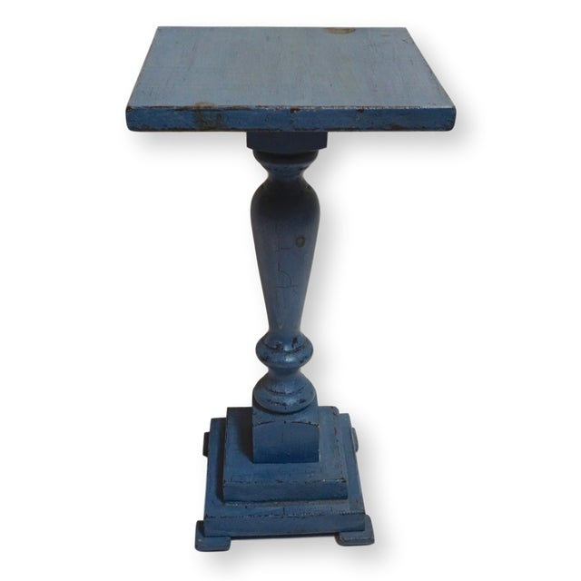 Wood Small Antique Blue Painted Pedestal Table For Sale - Image 7 of 7