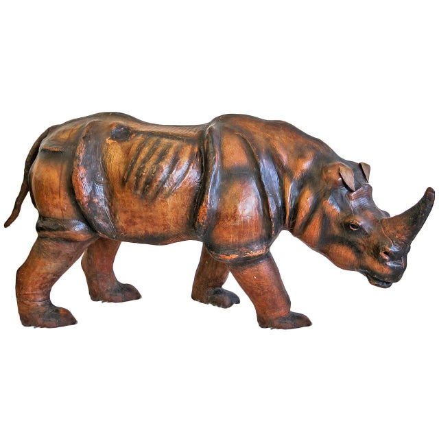 Gold 1970s Monumental Leather Rhinoceros Sculpture For Sale - Image 8 of 8