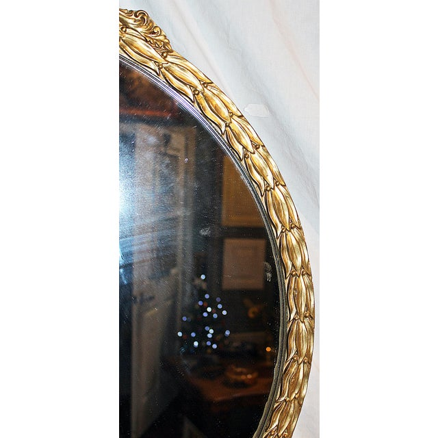 1920s Vintage American Rococo Round Mirror For Sale - Image 5 of 7