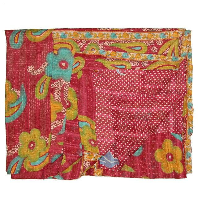 Vintage Red Kantha Quilt - Image 1 of 3