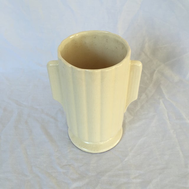 Art Deco Crackled Cream Ceramic Vase - Image 3 of 5