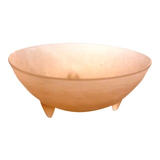 Early 20th Century Frosted Pink Satin Depression Glass Footed Dish For Sale