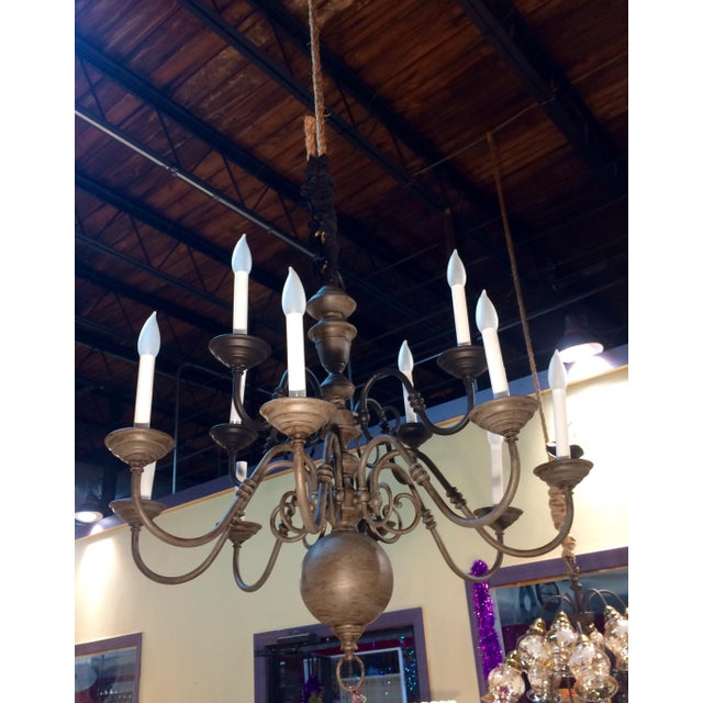 Jacobean Traditional Eleven Light Brass Chandelier For Sale - Image 3 of 9