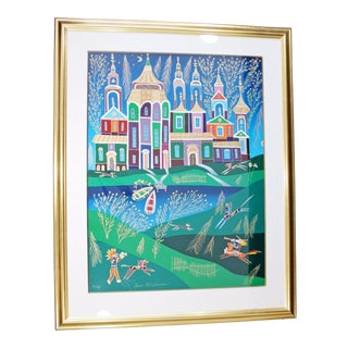 Framed Signed Original Lithograph Yuri Gorbachev Numbered 51/198 Russian Castle For Sale