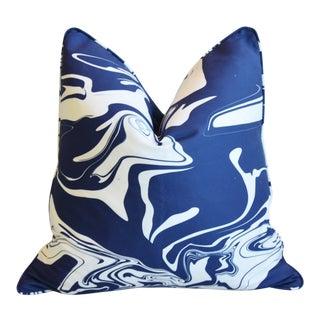 """Modern Blue/White Marbleized & Velvet Feather/Down Pillow 22"""" Square For Sale"""