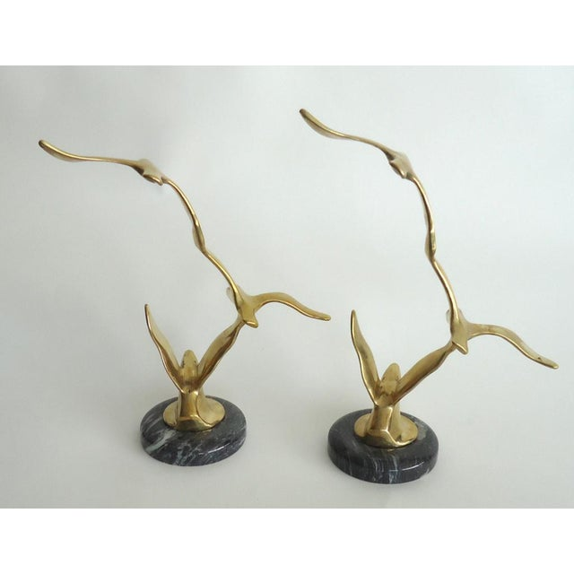 Contemporary Brass Modernist Seagull Sculptures on Marble Bases - a Pair For Sale - Image 3 of 5